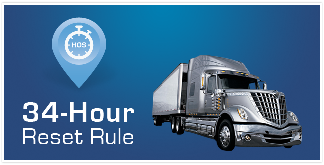 A silver and white transport truck with a stop watch icon that says HOS