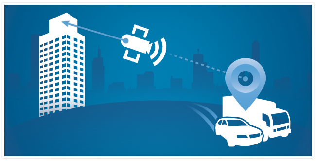 Graphic of a satellite sending data from a car and van to a building