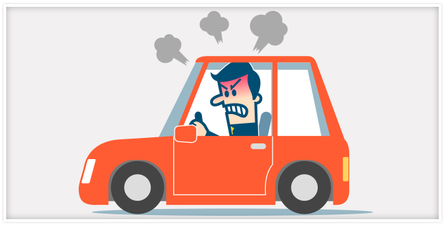 Orange car with an angry man sitting inside with steam coming from his head