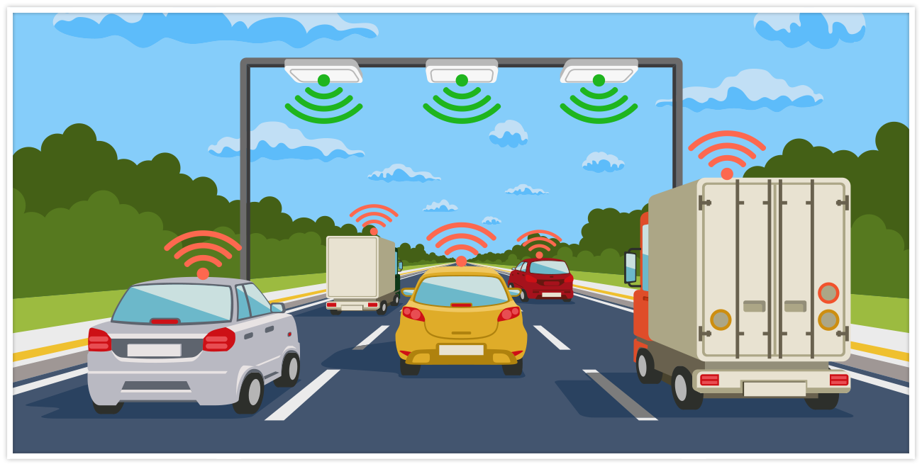 Cartoon of vehicles in traffic with connectivity signals coming from them