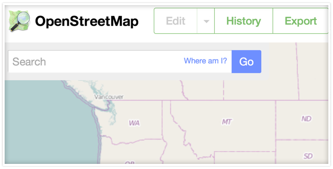 """""""OpenStreetMap"""" next to edit, history and export buttons and a search bar below and a map in the background."""