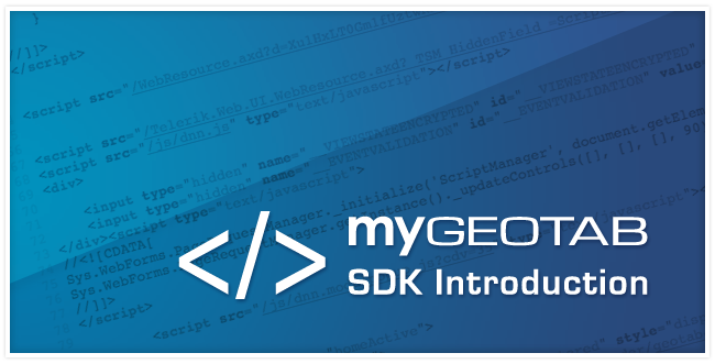 """MyGeotab SDK Introduction"" in white writing with a blue background with java script"