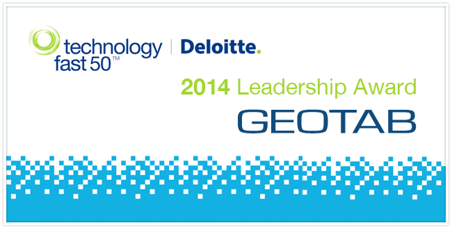 """""""2014 Leadership Award Geotab"""" in writing with the Deloitte logo and bright blue pixels underneath"""