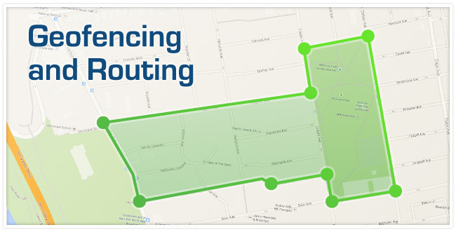 A map with green dots and lines outlining a certain area creating a zone.