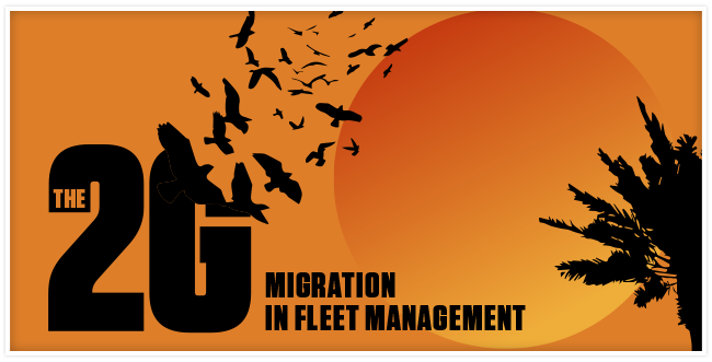 2G migration represented by a 2G logo disintegrating into a flock of birds