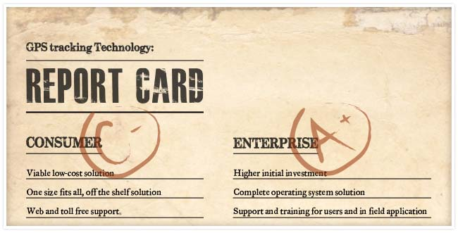 Report card with Consumer having a C- and Enterprise having a A+