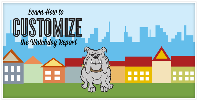 A cartoon of a grey bull dog sitting on grass with houses and the city behind it