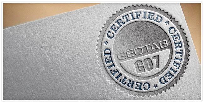 Grey folder with a Geotab GO7 certified stamp