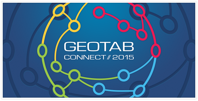 Geotab Connect logo which is shaped like the world with red, yellow, green and blue lines connecting