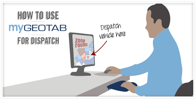 "Cartoon of a man in a blue shirt sitting at a desk with a monitor, there is an arrow pointing to the monitor that says ""Dispatch vehicle here"""