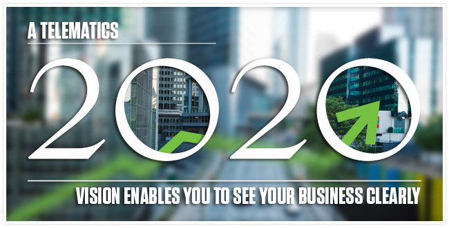 """A Telematics 2020 Vision Enables You to See Your Business Clearly"" in writing with a blurred background of a city. The space in the zeros is not blurred and the city can be seen."