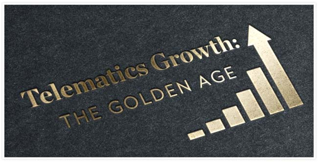 """""""Telematics Growth: The Golden Age"""" stamped in gold on card stock with a increasing bar graph"""