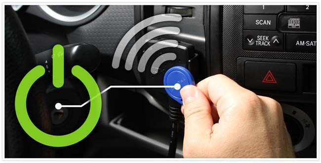 Blue NFC tag tapping on the NFC reader in the vehicle with a power and wireless signal icon.