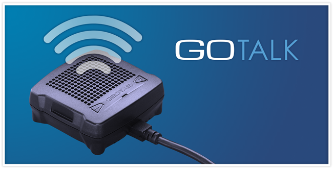 Image of the Geotab GO Talk with sound waves coming from it