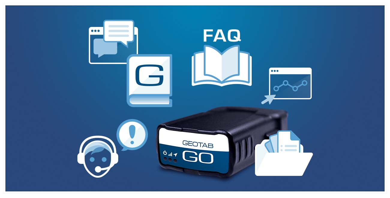 Image of a Geotab GO device surrounded with support icons such as a chat window, a book with a G on it and an open book with FAQ above it.