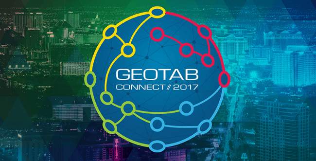 Geotab Connect logo with a cityscape in the background