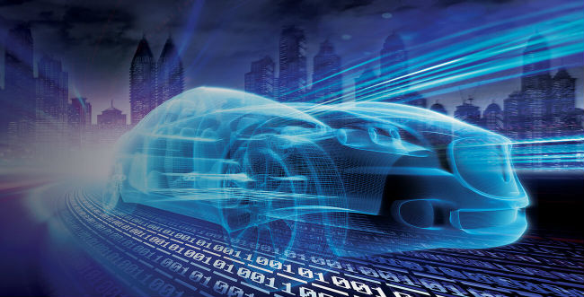 A digital car on a digital highway made of binary code