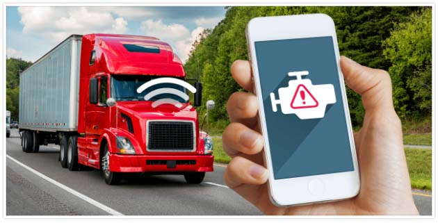 A red and white transport truck on a road with connectivity signals coming from it and a person holding a phone with a check engine light icon on it