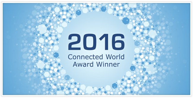 """2016 Connect World Award Winner"" surrounded by hexagons that are different shades of blue"
