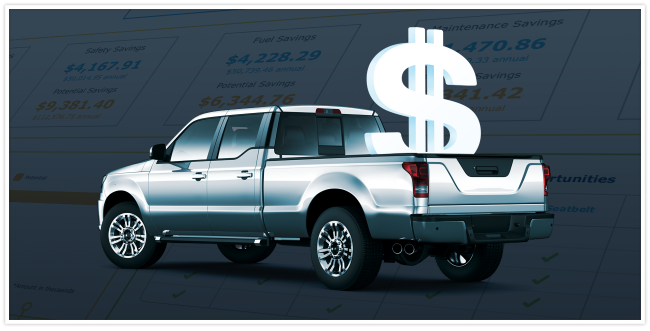 A silver pickup truck with a dollar sign in the cargo bed