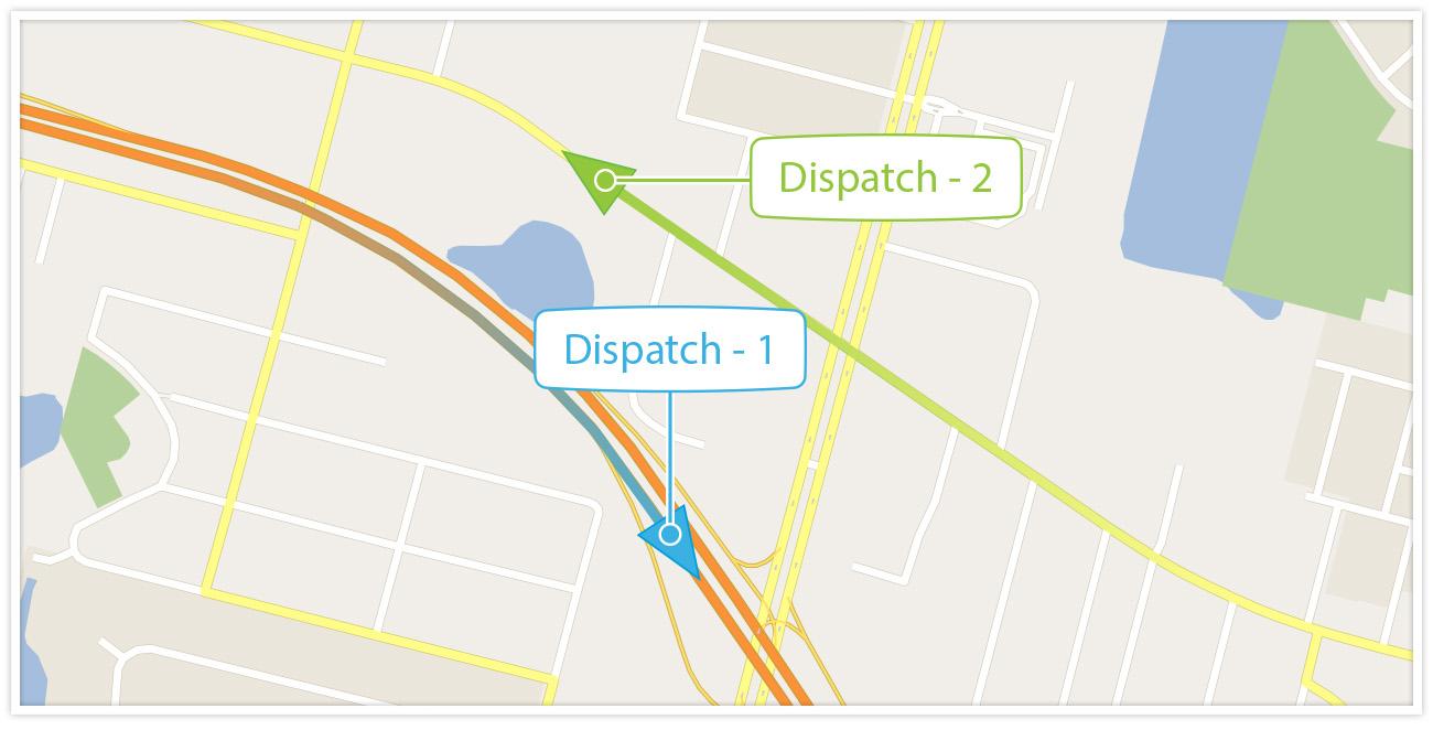 Map displaying dispatches
