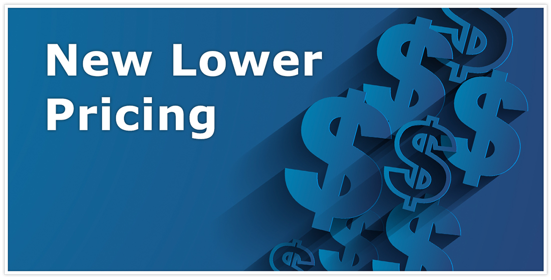 """Graphic of dollar signs on a blue background with the words """"New Lower Pricing"""" in the top left corner"""