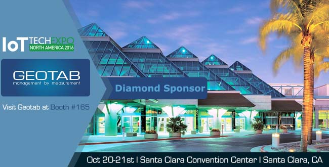 A blue convention center with Geotab as a diamond sponsor and a yellow palm tree next to it.