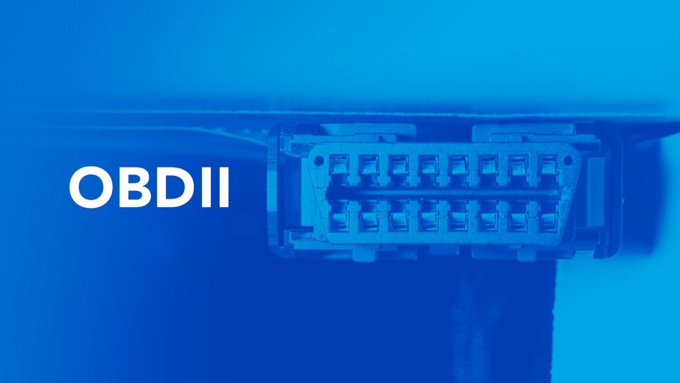 Image of a vehicles OBDII port with a blue overlay