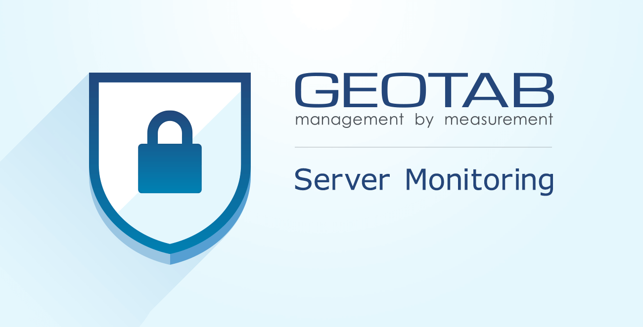 """A shield icon with a blue padlock in the middle and the words """"Server Monitoring"""" next to it"""