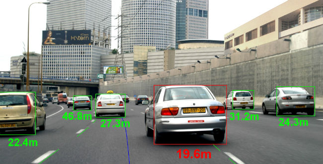 Cars on a road with measurement of distance from surrounding cars in green.