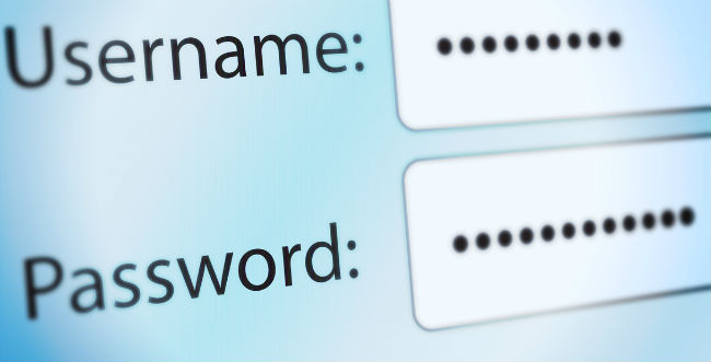 Username and password fields with information entered