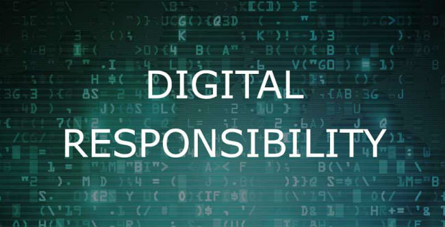 Digital Responsibility with randomized letters and numbers in background