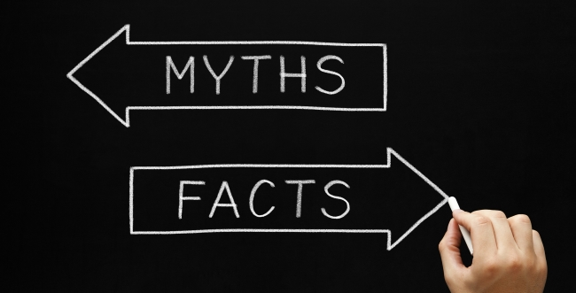 "Two arrows, one says ""Myths"" and points left and the other says ""Facts"" and points right"