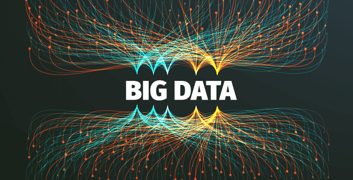 Big Data with teal and yellow art design