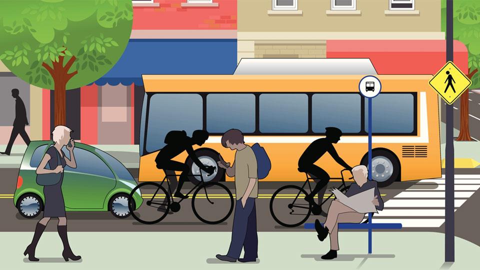 Bus, Fußgänger und Fahrradfahrer