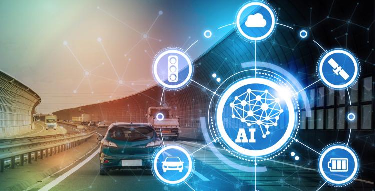 A car on the road with a bright blue futuristic AI overlay