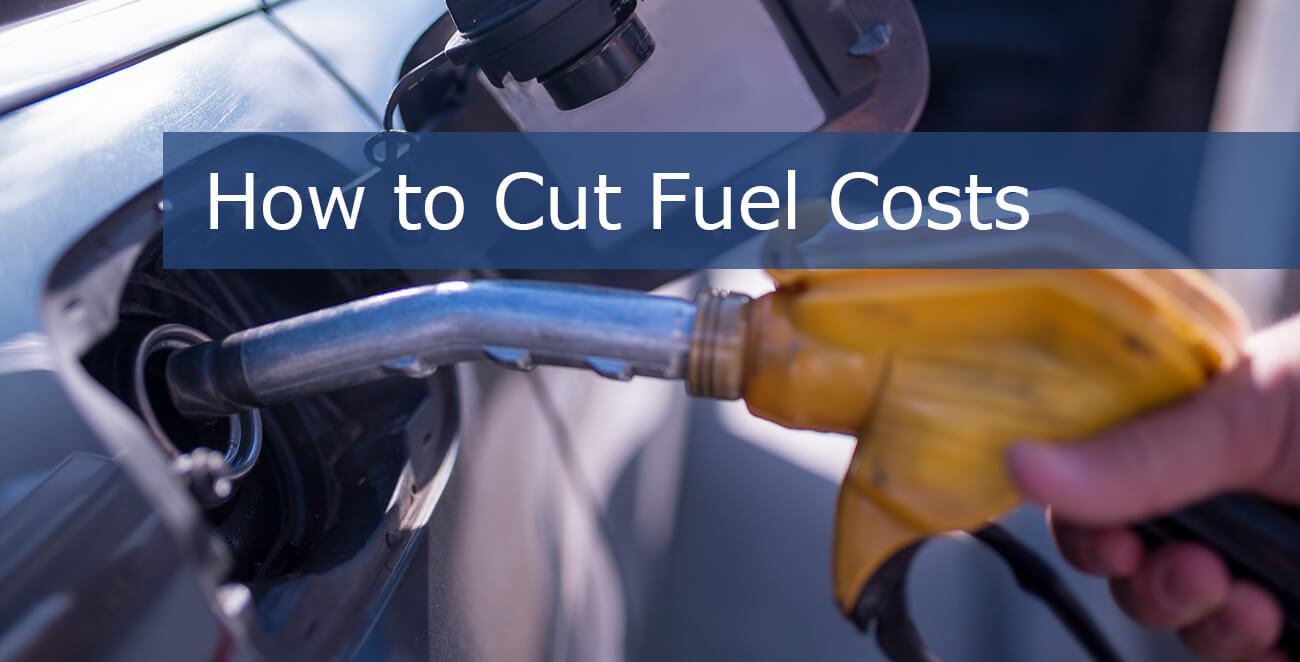 "Hand pumping gas into car gas tank with words ""how to cut fuel costs"""