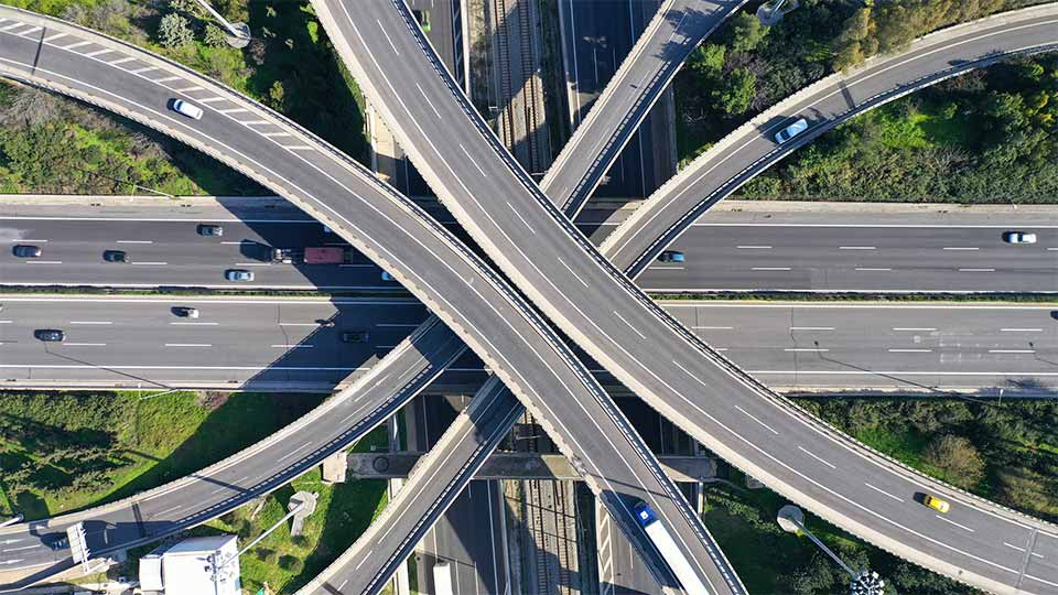 Overlapping highway seen from aerial view