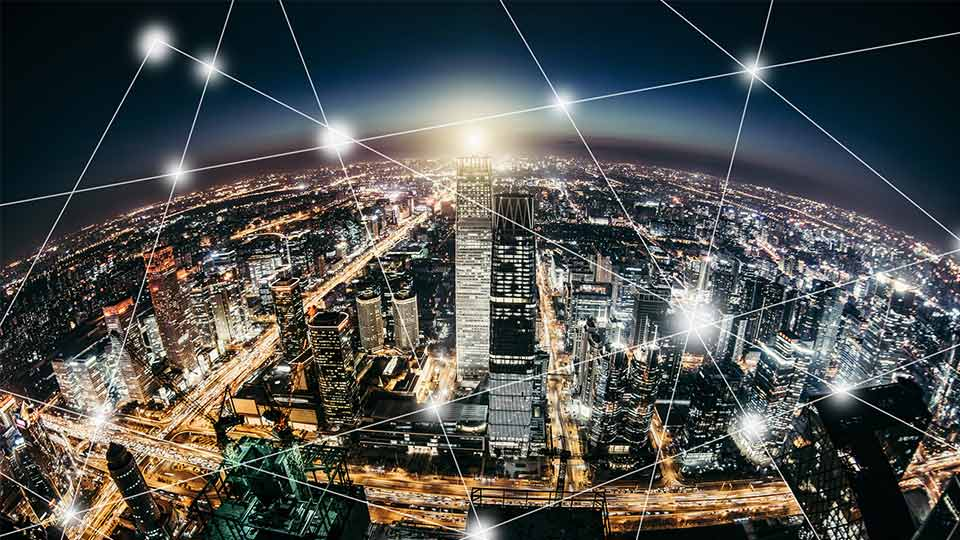 Connected city at night.