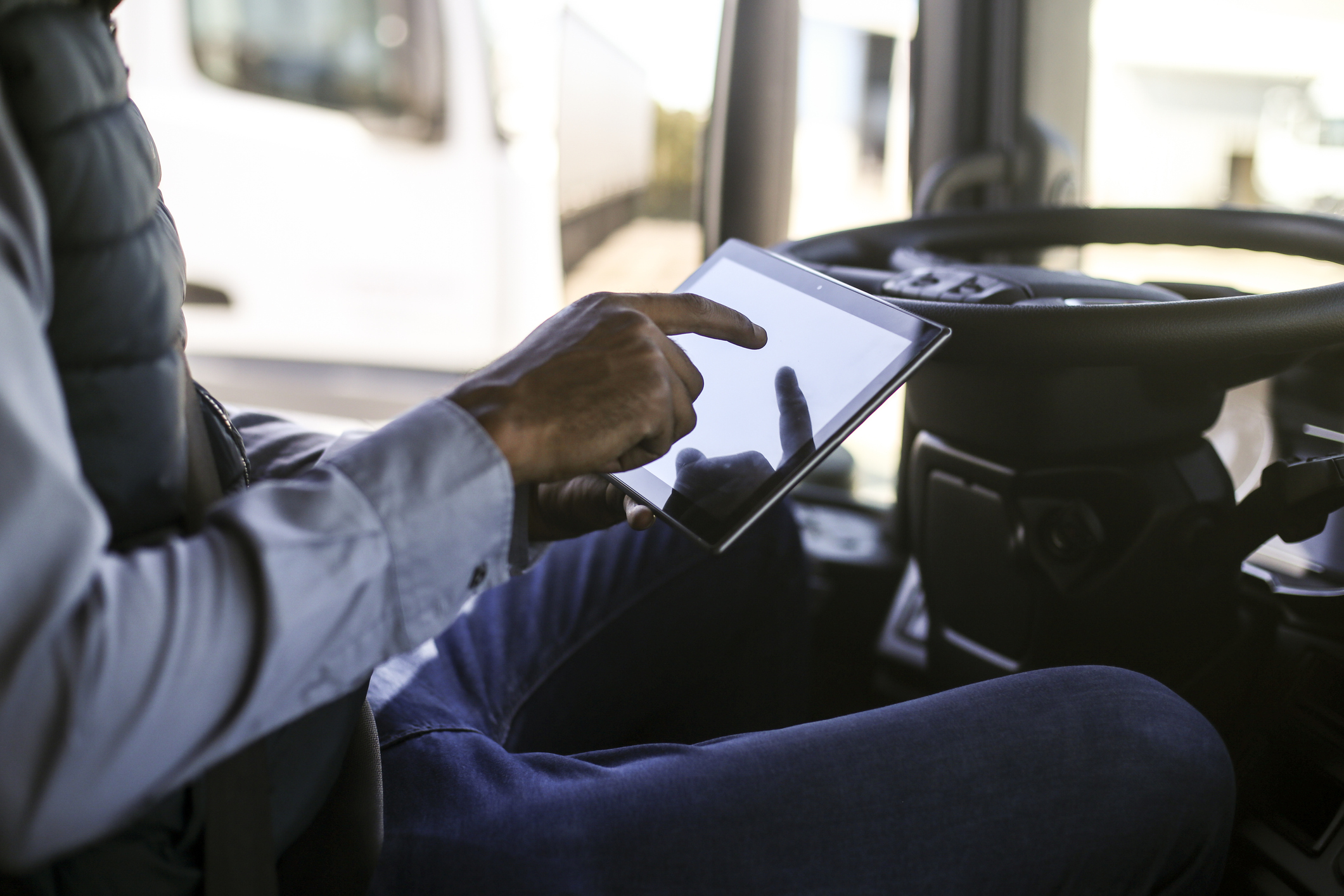 Driver reviewing Hours of Service rules