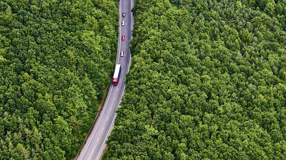 Camion fotografato dall'alto mentre percorre una strada tra la natura.