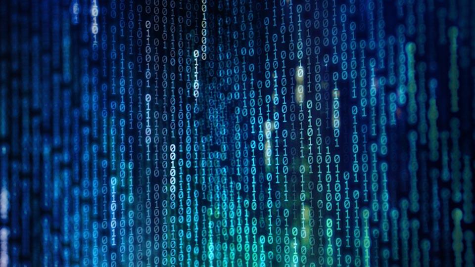 Codigo binario compuesto por unos y ceros en fila vertical