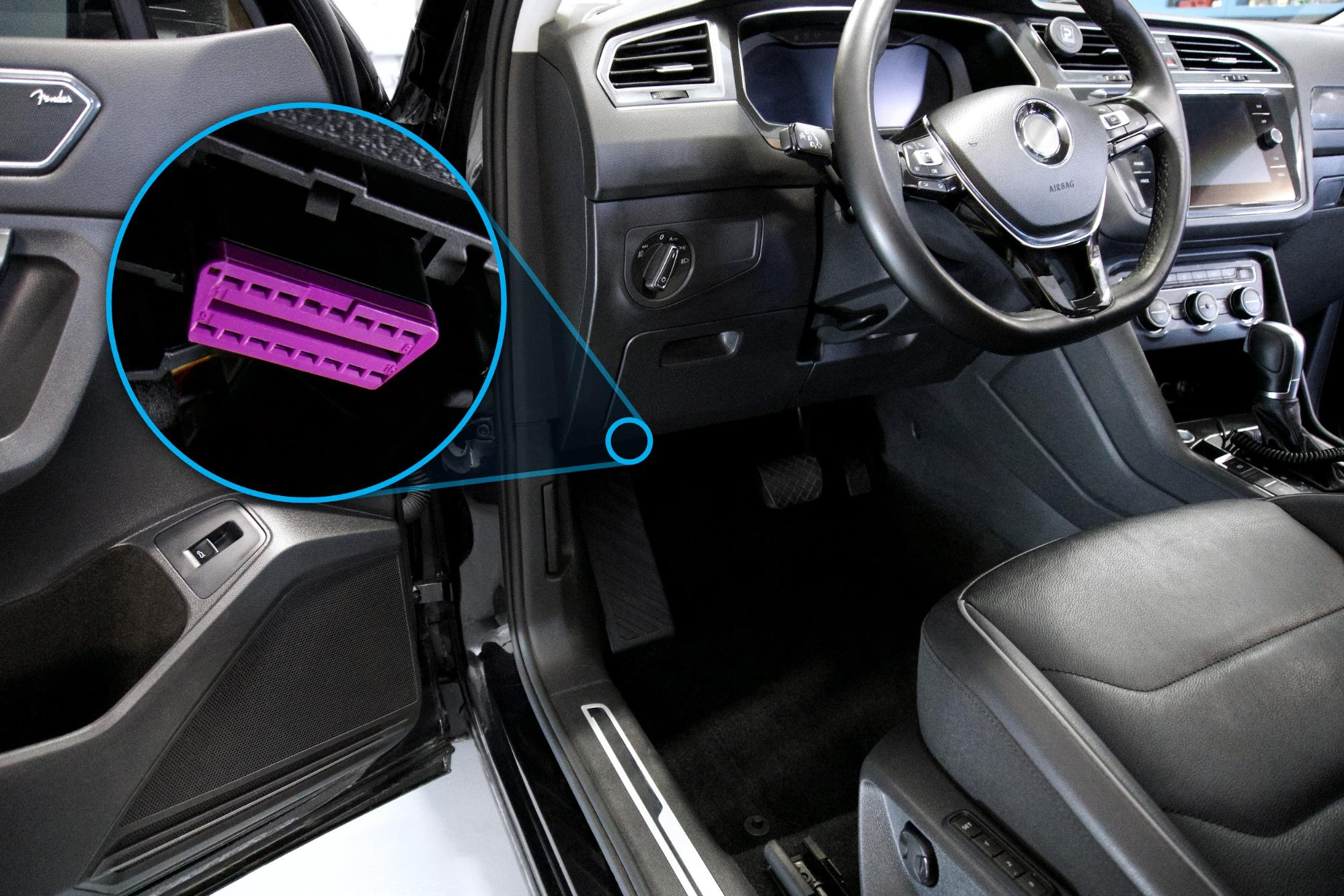 Diagram showing where the OBDII is located inside a vehicle