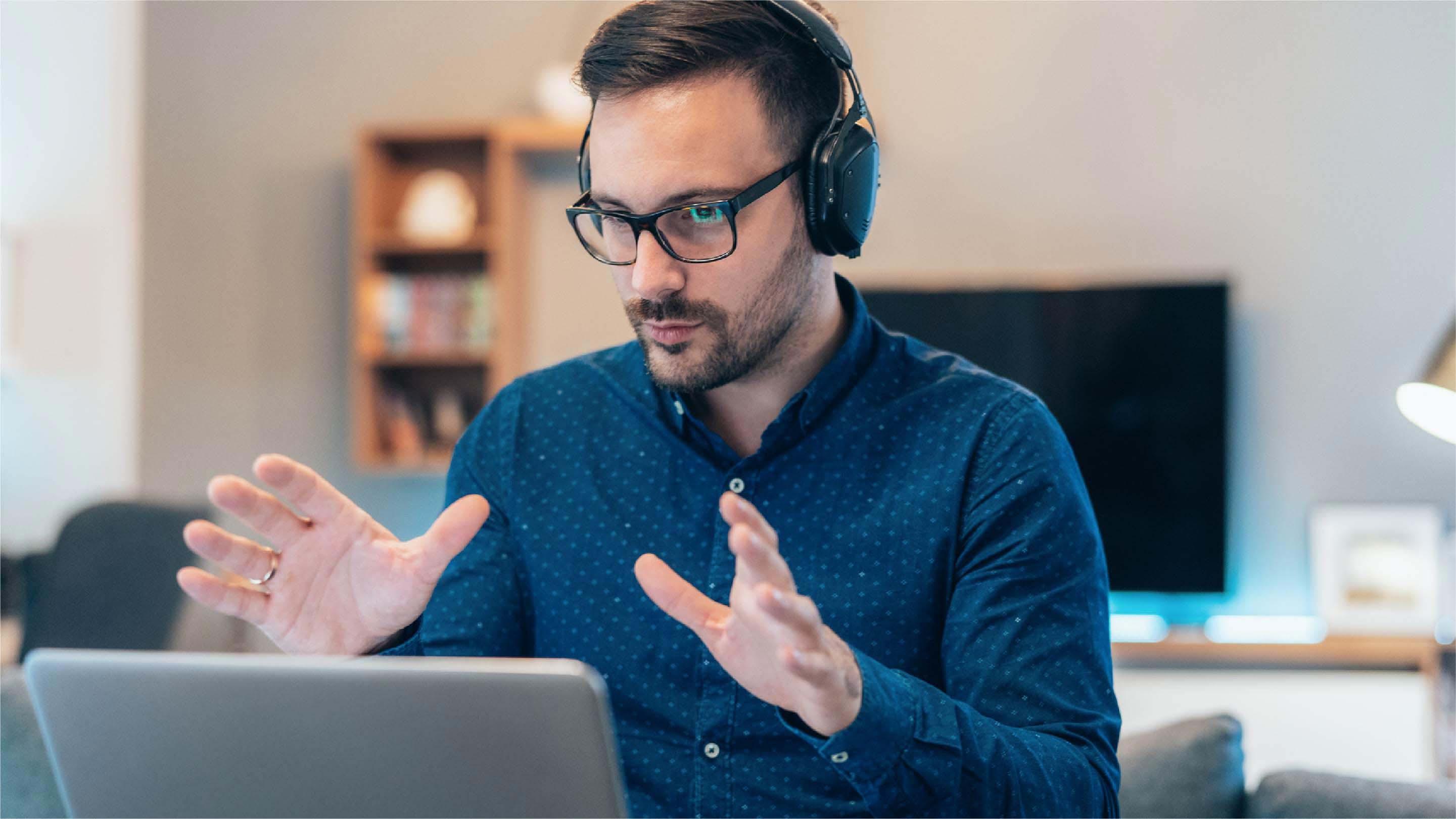Man explaining something during a virtual interview