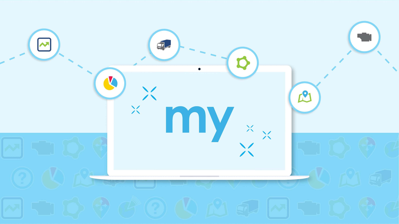 myGeotab logo auf einem bildschirm mit blauem Hintergrund.
