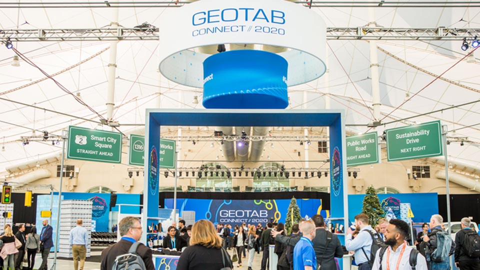 People in front of Geotab booth at Connect 2020