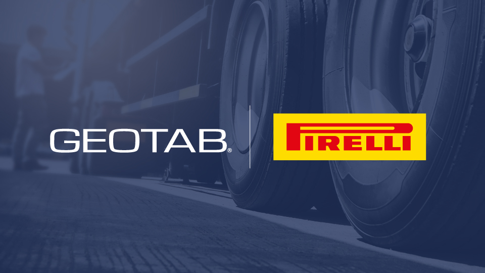 Geotab and Pirelli Logos on blue backgrounds