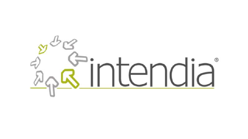 Intendia Logo auf weißem Hintergrund.