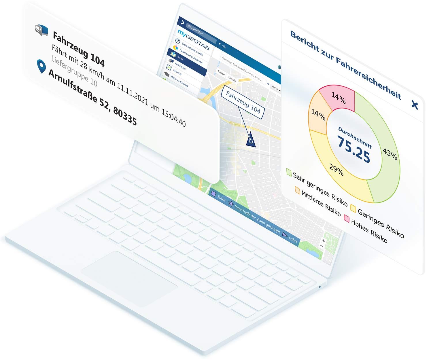 Weißer Laptop mit MyGeotab-Karte mit Fahrzeugdaten und Berichtsbogen zu Fahrersicherheit über dem Bildschirm