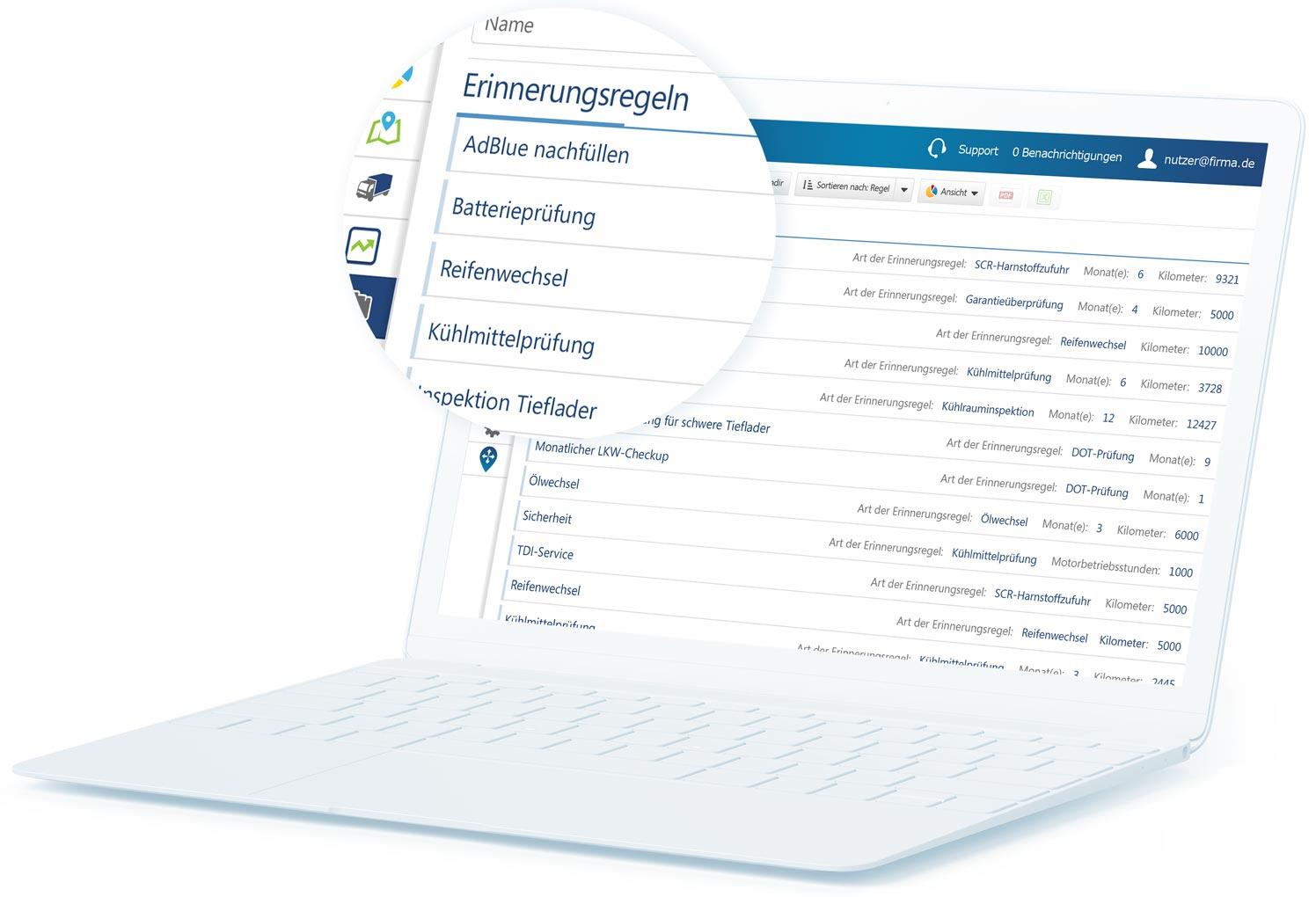 Regeln für MyGeotab-Wartungserinnerungen auf einem weißen Laptop mit einer Legende, die einige Inhalte vergrößert